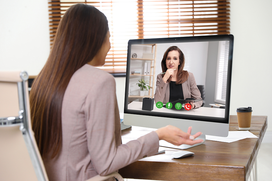 Bigstock Woman Using Video Chat For Onl 366862168